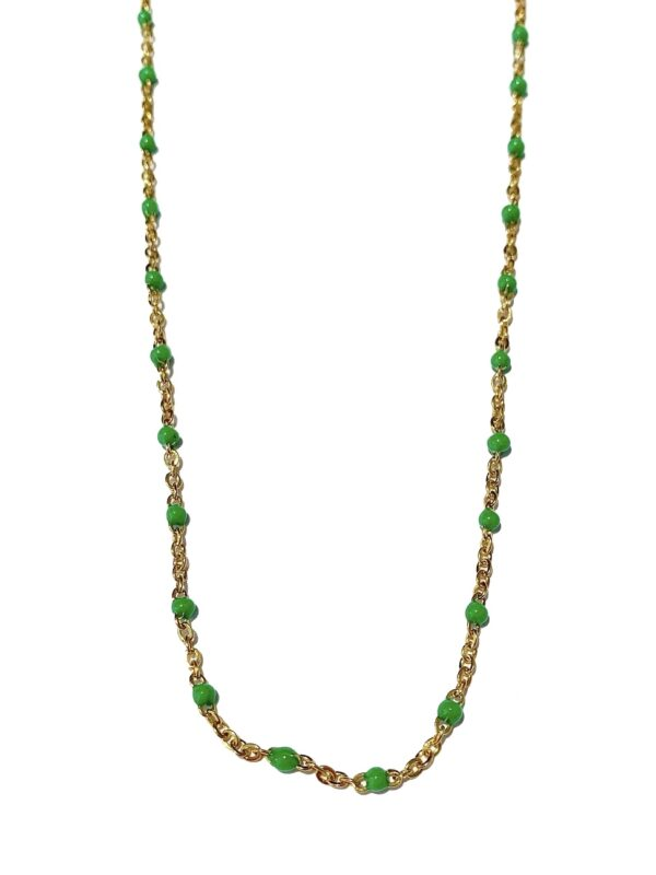 Golden green dots necklace scaled