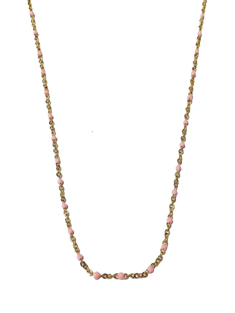 Golden pink dots necklace