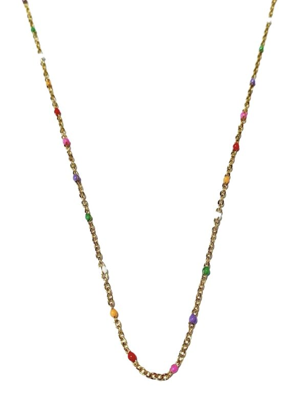 Golden rainbow dots necklace scaled